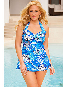 Swim Sexy Stamped Tropic Twist Halter Swimdress by Swim Sexy