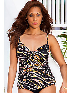 Tiger Tab Front Tankini Top by Swim & Sun