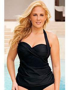 Twist Front Bandeau/Halter Tankini Top by Swim Sexy