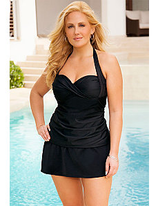 Twist Front Bandeau/Halter Slit Skirtini by Swim Sexy