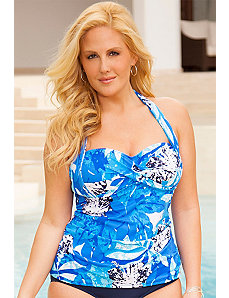 Stamped Tropical Twist Halter Tankini Top by Swim Sexy
