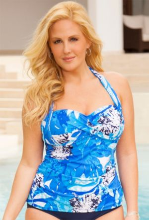 Stamped Tropical Twist Halter Tankini Top