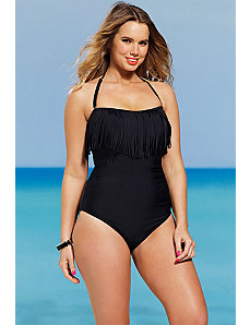 Black Fringe Bandeau/Halter Swimsuit by Shore Club