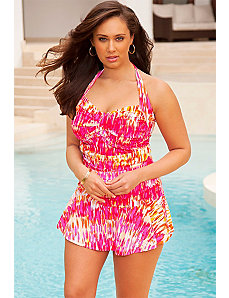 Pink Waterfall Twist Front Swimdress by Swim Sexy