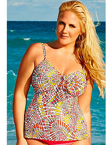 Pink Mosaic Flared Tankini Top by Swim & Sun