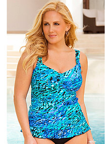 Blue Haute Tab Front Ruffle Tankini Top by Swim & Sun