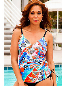 Ethnic Hibiscus Side Shirred Tankini Top by Swim Sexy
