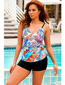 Hibiscus Side Shirred Boy Shortini by Swim Sexy
