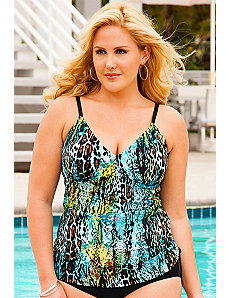 Cheetah Reptile Side Shirred Tankini Top by Swim Sexy