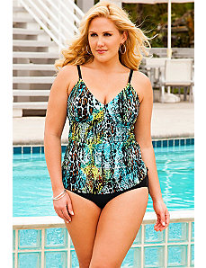 Cheetah Reptile Side Shirred Tankini by Swim Sexy