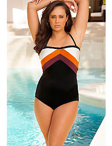 Swim Sexy Cinnamon Color Block Swimsuit by Swim Sexy