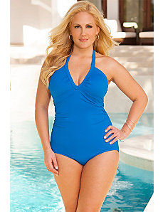 Swim Sexy Sea V-Neck Halter Swimsuit by Swim Sexy