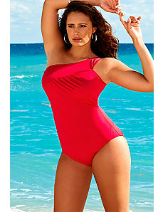 Raspberry One Shoulder Swimsuit by Swim Sexy