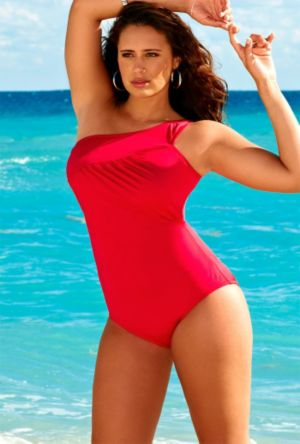 Raspberry One Shoulder Swimsuit