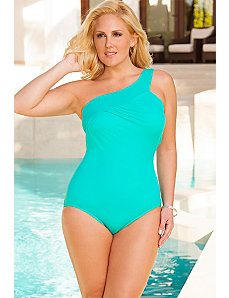 Swim Sexy Palm One Shoulder Shoulder Swimsuit by Swim Sexy