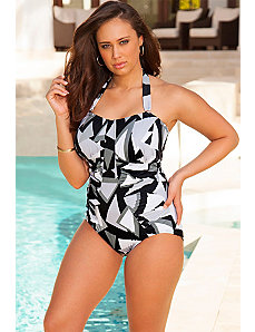 Geo Bandeau/Halter Ruched Swimsuit by Swim Sexy