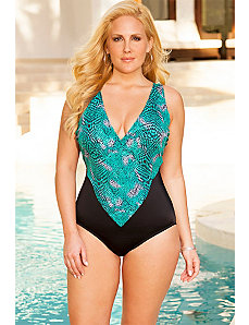 Swim Sexy Teal Animal V-Neck Swimsuit by Swim Sexy