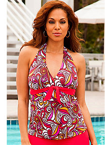 Pink New Tribes Tie Front Halter Tankini Top by SFA House Brand