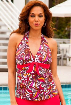 Pink New Tribes Tie Front Halter Tankini Top