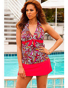 Pink New Tribes Tie Front Halter Red Slit Skirtini by Swim Sexy