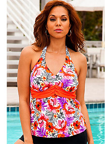 Cherry Blossom Sash Halter Tankini Top by Swim Sexy