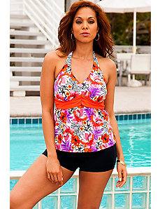 Cherry Blossom Sash Halter Black Boy Shortini by Swim Sexy