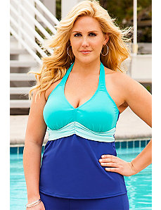 Blue Color Block Plus Size Sash Halter Tankini Top by Beach Belle
