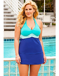 Blue Color Block Sash Halter Royal Slit Skirtini by Beach Belle