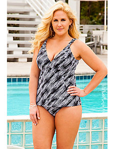 Diagonal Geo Fauxkini Swimsuit by Beach Belle