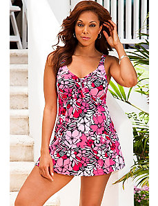 Graphic Tropical Tie Front Swimdress by Beach Belle