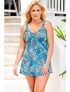 Blue Patchwork Safari Tie Front Swimdress by Beach Belle
