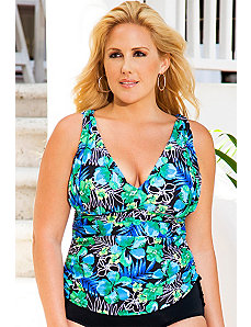 Aqua Blossom Side Tie Tankini Top by Swim Sexy