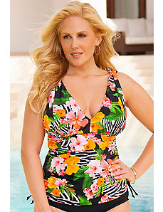 Zebra Floral Side Tie Top by Swim Sexy