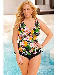 Zebra Floral Side Tie Tankini by Swim Sexy