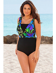Blue Kabuki Plus Size V-Inset Swimsuit by Longitude