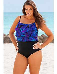 Purple Darling Triple Tier Tank Swimsuit by Longitude