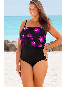 Pink Sashay Triple Tier Swimsuit by Longitude