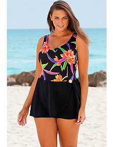 Formosa Mock Surplice Swimdress by Longitude