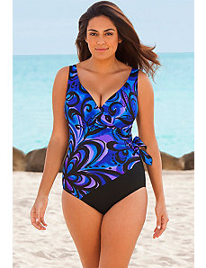 Spin Out Side Tie Surplice Swimsuit by Longitude