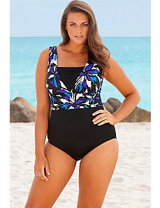Acapulco Mesh V-Inset Swimsuit by Longitude