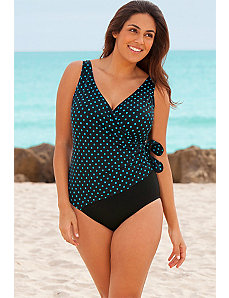 Turquoise Side Tie Surplice Swimsuit by Longitude