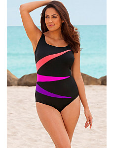 Pink Fan Club Plus Size Tank Swimsuit by Longitude