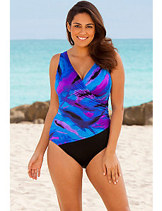 Blue Spectacular Surplice Swimsuit by Longitude