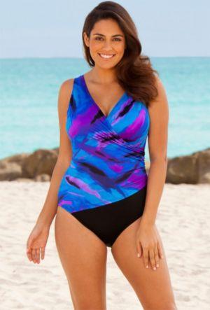 Blue Spectacular Surplice Swimsuit