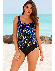 Blue Fabulous Sash Tank Swimsuit by Longitude