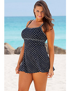 White Dots Plus Size Lingerie Swimdress by Longitude