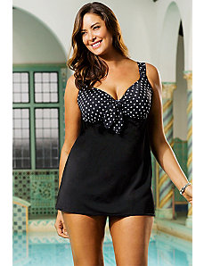 White Dots Plus Size Tie Front Swimdress by Longitude