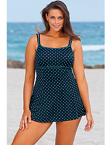 Turquoise Dots Plus Size Linger Swimdres by Longitude