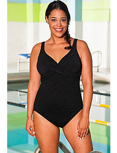 Chlorine Resistant Black Krinkle Cross Over Suit by Aquabelle