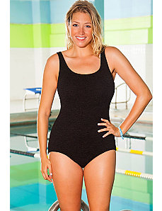Chlorine Resistant Black Krinkle Cross Back Suit by Aquabelle